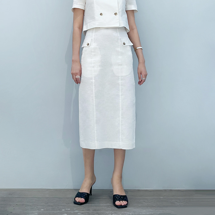 High-Rise Double-Buttoned Skirt