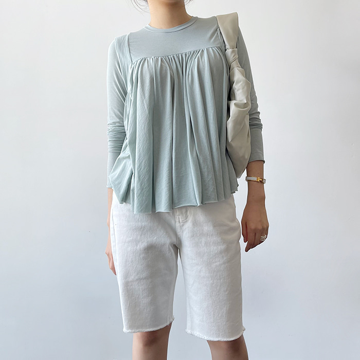 Shirred Long-Sleeved T