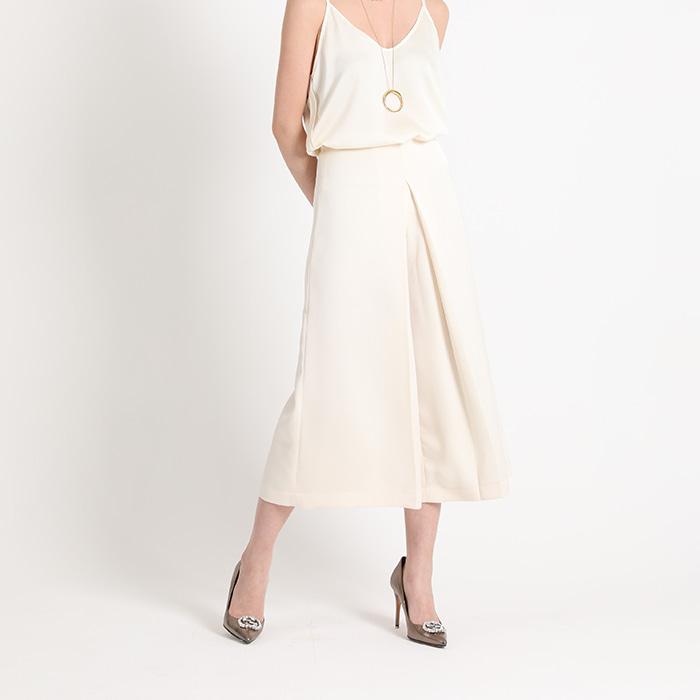 Wide-leg Silky Culottes - Cream