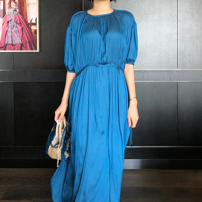 Drawstring Satin Maxi Dress
