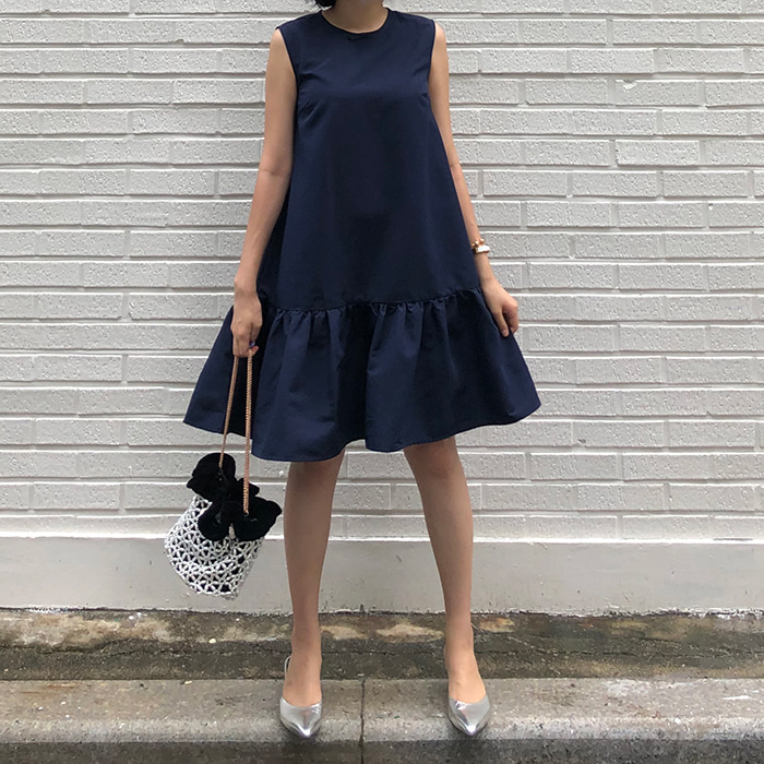 Navy Ruffled-Hem Dress