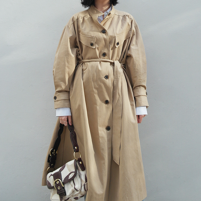 Cotton Flared & Pleated Trench