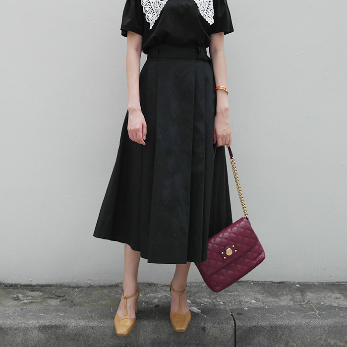 Belted Pintucked Skirt
